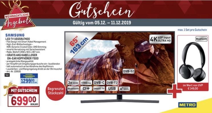 Metro Gutscheinheft (zB.: Samsung UE65RU7400 + AKG Kopfhörer Y500)