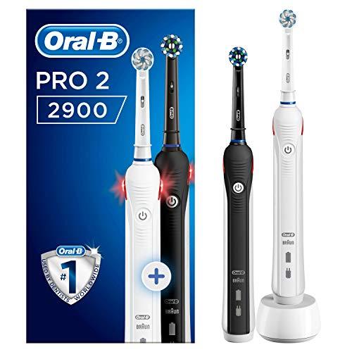 Oral-B PRO 2 2900 Elektrische Zahnbürste mit visueller Andruckkontrolle für extra Zahnfleischschutz, mit 2. Handstück, schwarz/weiß, 2 Stk