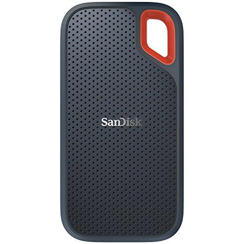 SanDisk Extreme Portable SSD externe Festplatte 1TB (SSD extern 2,5 Zoll, 550 MB/s , stoßfest, AES-Verschlüsselung,wasser-,staubfest) grau