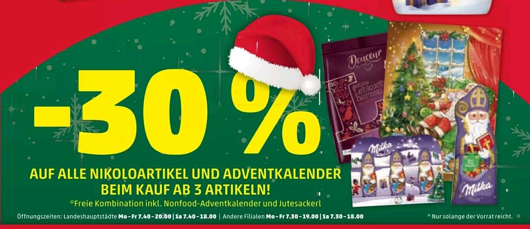 Penny: -30% auf alle Adventskalender und Nikoloartikel (ab 3 Stück)