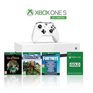 Xbox One S 1TB All Digital Edition + Sea of Thieves, Minecraft & Fortnite Legendary Evolving Skin