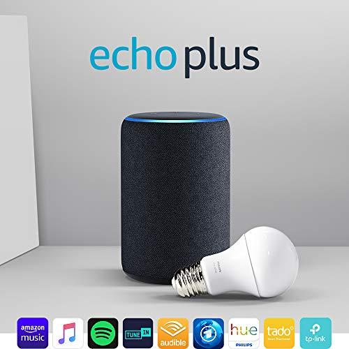 Amazon Echo Plus (2. Gen.), Anthrazit Stoff + Philips Hue White Lampe