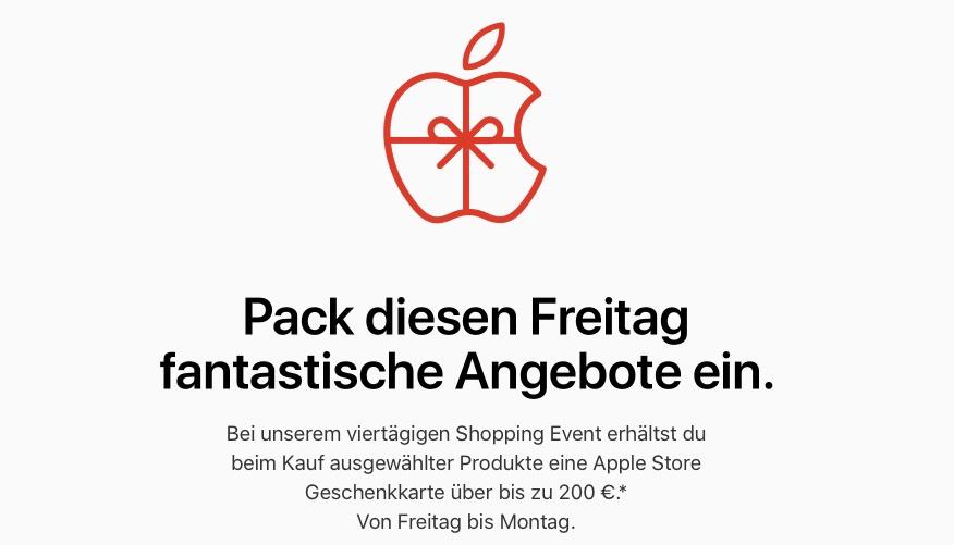 APPLE.com/at l Black Friday Österreich bis zu € 200,-- als Gutschein für den Apple Store Wien zum Kauf ausgewählter Apple Produkte erhalten