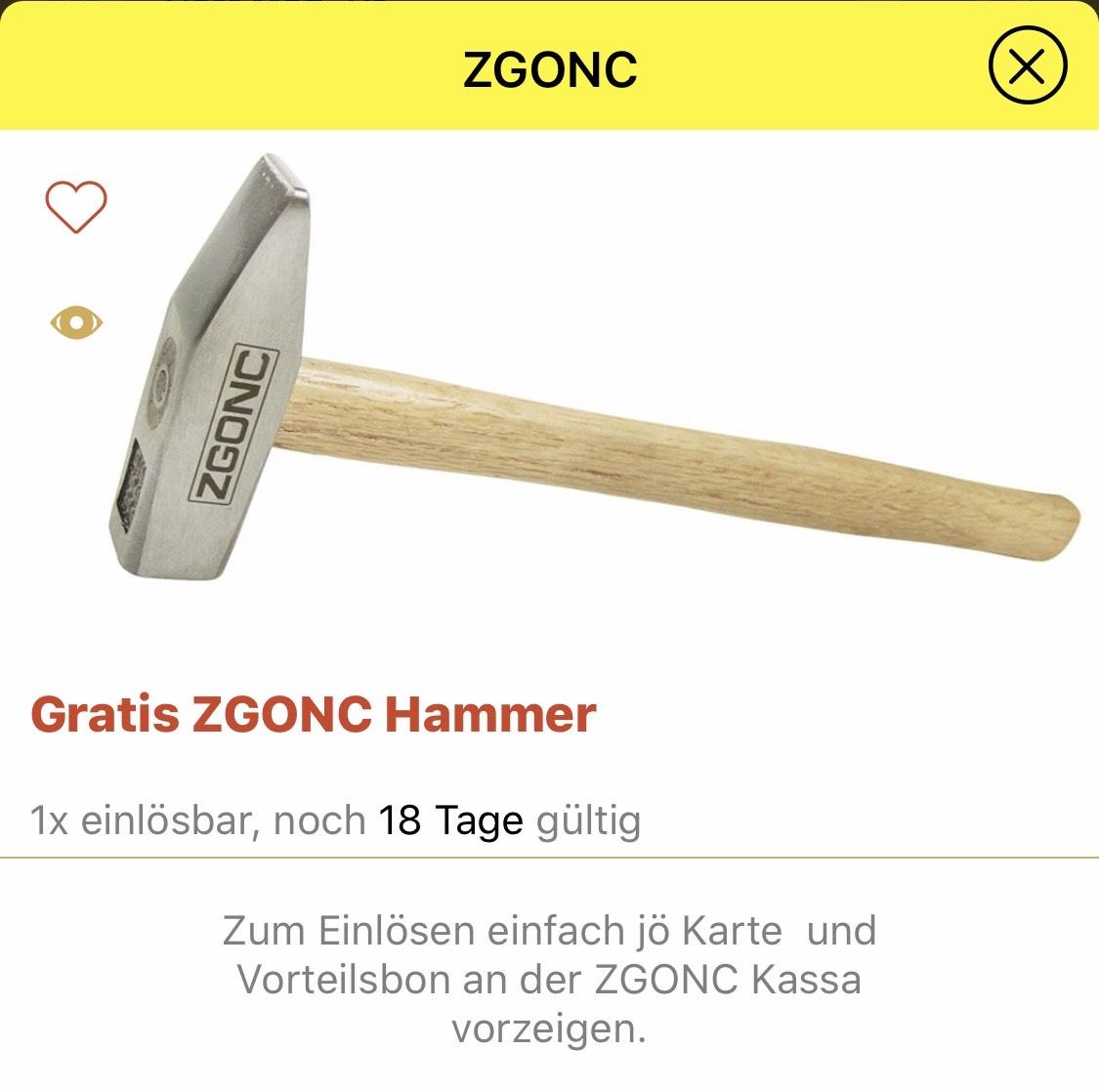 Gratis Hammer von Zgonc mit der Jö Karte + App