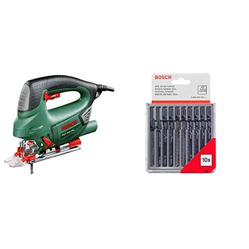 Bosch Stichsäge PST 900 PEL (620 Watt, Spanreißschutz, CutControl, Koffer) + Pro Stichsägeblatt 10 tlg.-Set für Holz