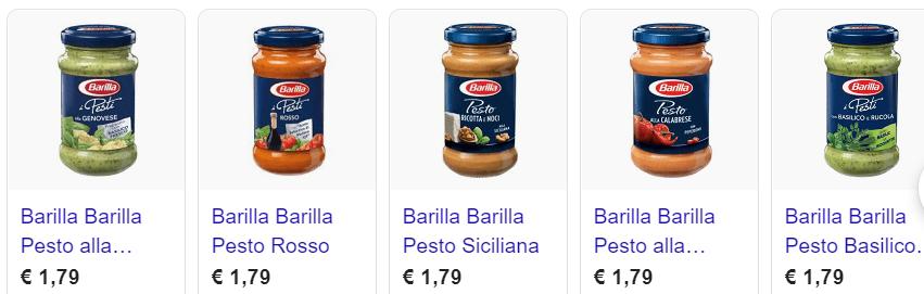 Barilla Pesto verschiedene Sorten