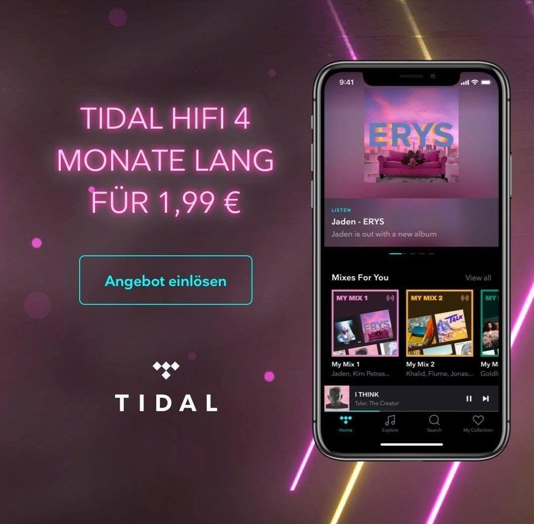 TIDAL Premium 4 Monate lang für 0,99€ - Neukunden