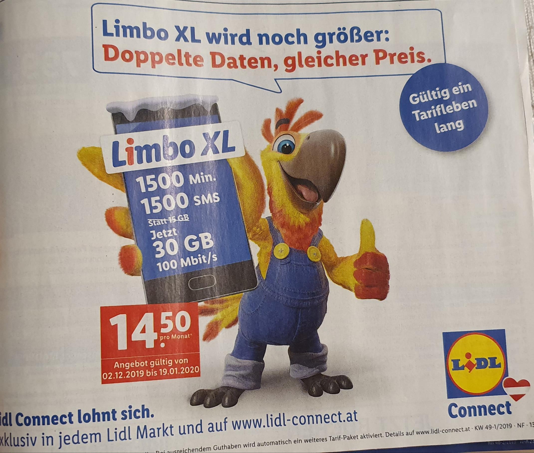 Lidl Limbo XL, doppelte Daten, gleicher Preis