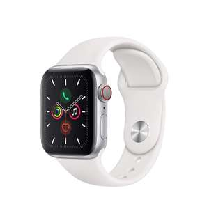 Apple Watch Series 5 (GPS + Cellular) 40mm Aluminium silber mit Sportarmband weiß