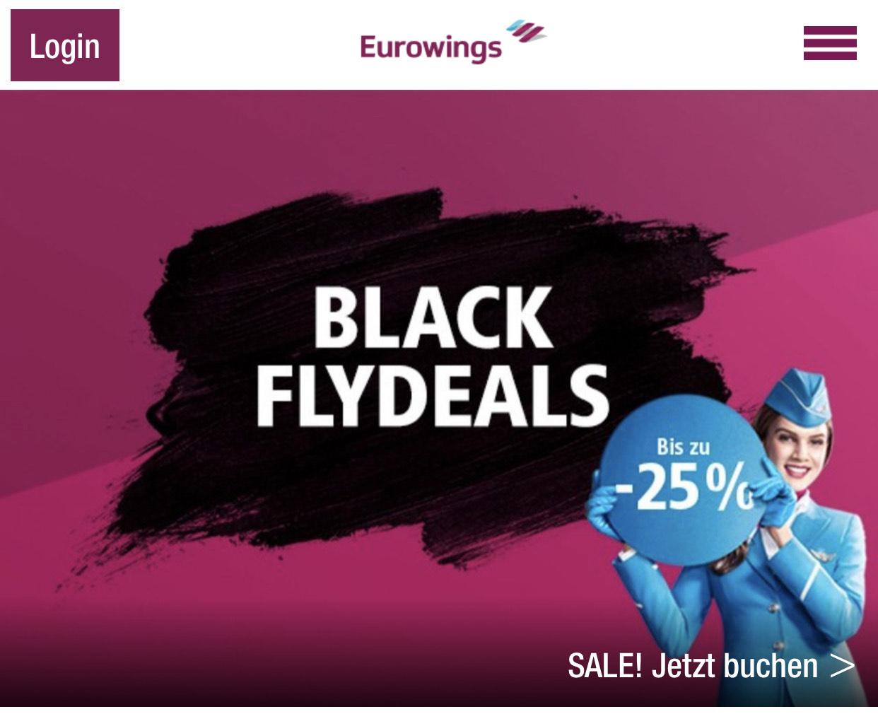 Black Flydeals Eurowings bis 25% Rabatt
