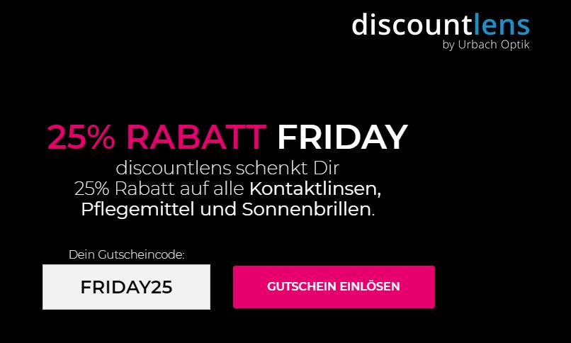 25% Rabatt am Black Friday bei discountlens.de