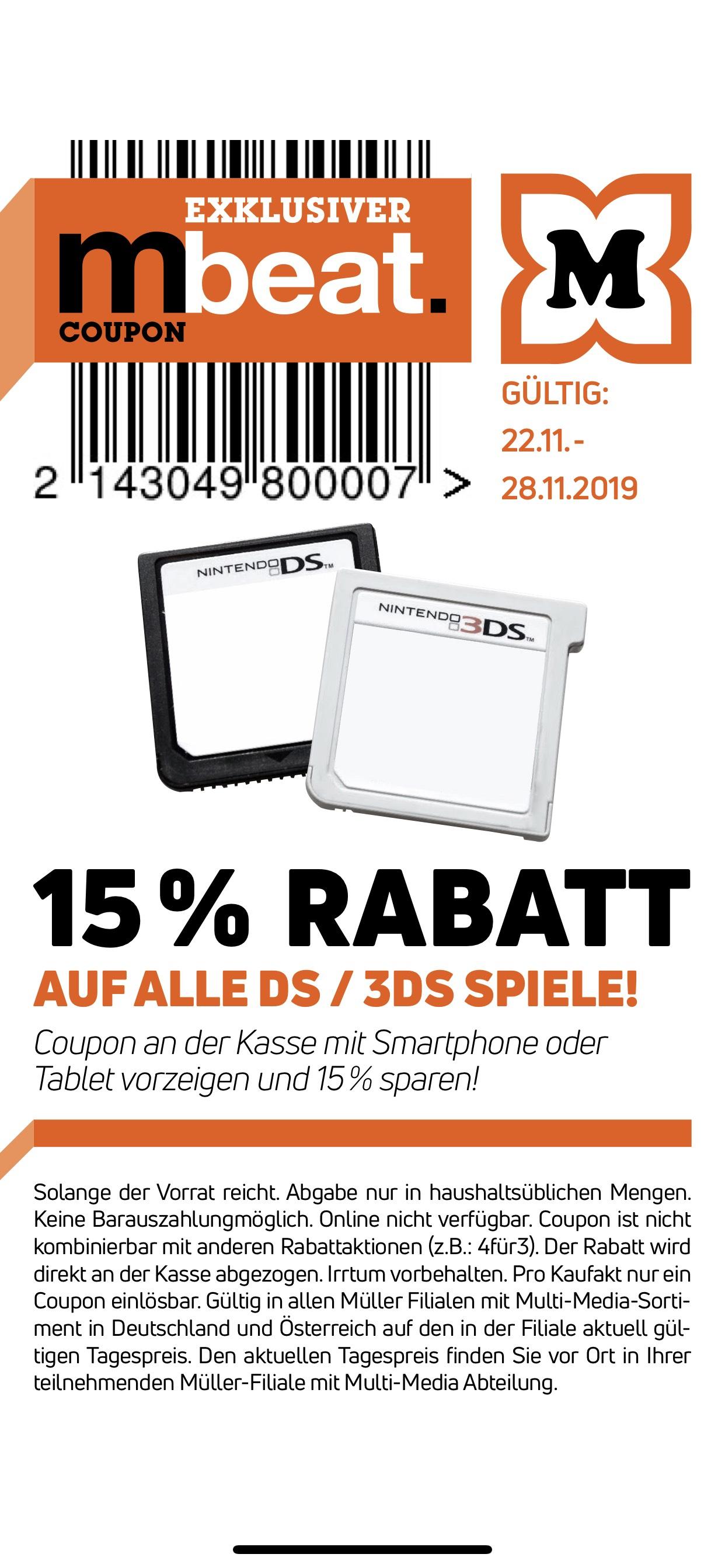 Müller App MBeat: 15% Rabatt auf alle Nintendo DS/3DS Spiele