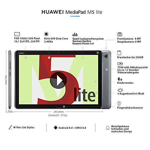 """Huawei MediaPad M5 lite LTE 10,1"""" Tablet, Full HD, Kirin 659, 3 GB RAM, 32 GB Speicher, Android 8.0, EMUI 8.0, grau"""
