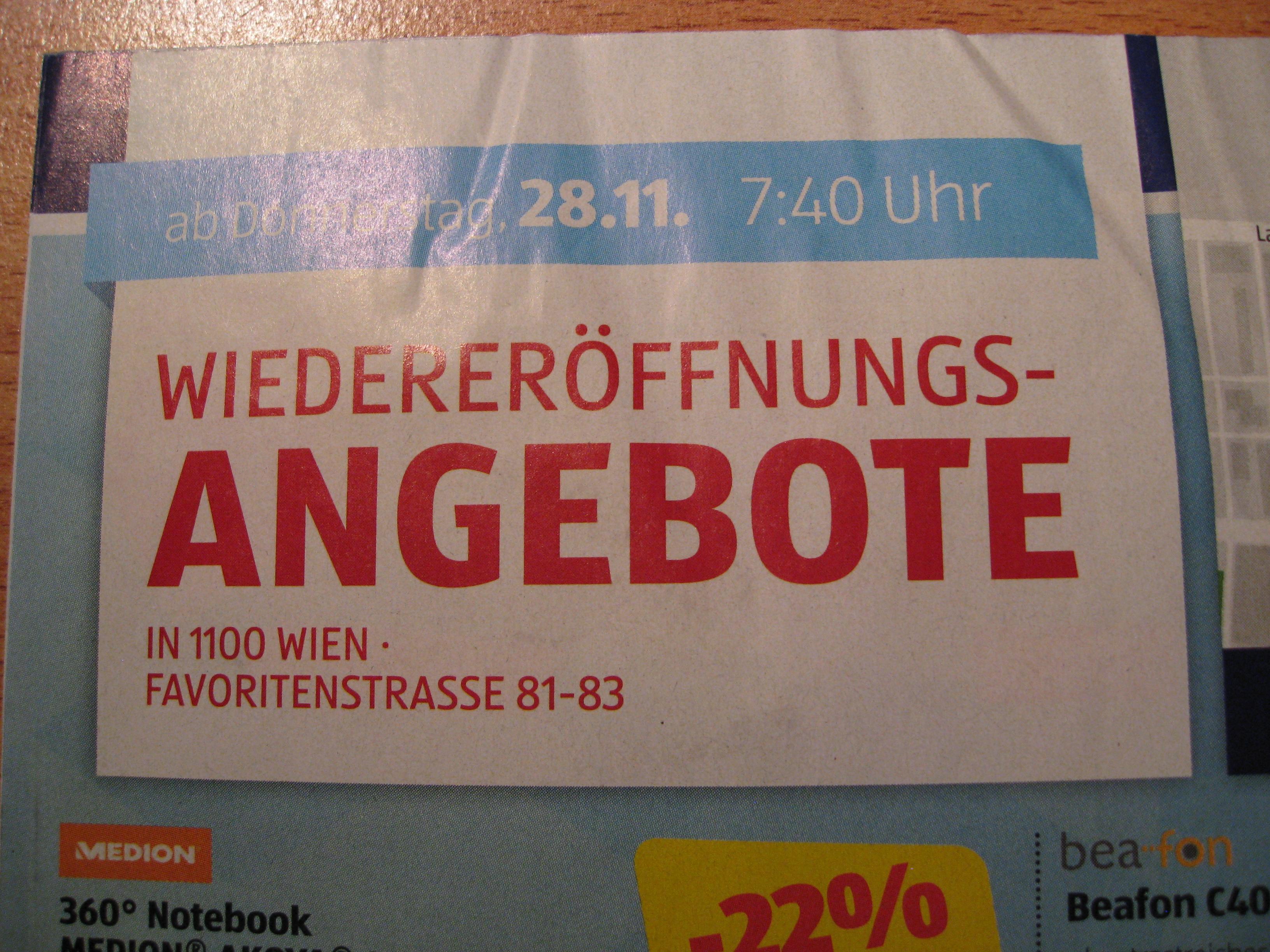Hofer Wiedereröffnungsangebote Wien 10 Favoritenstrasse 81-83 am 28.11