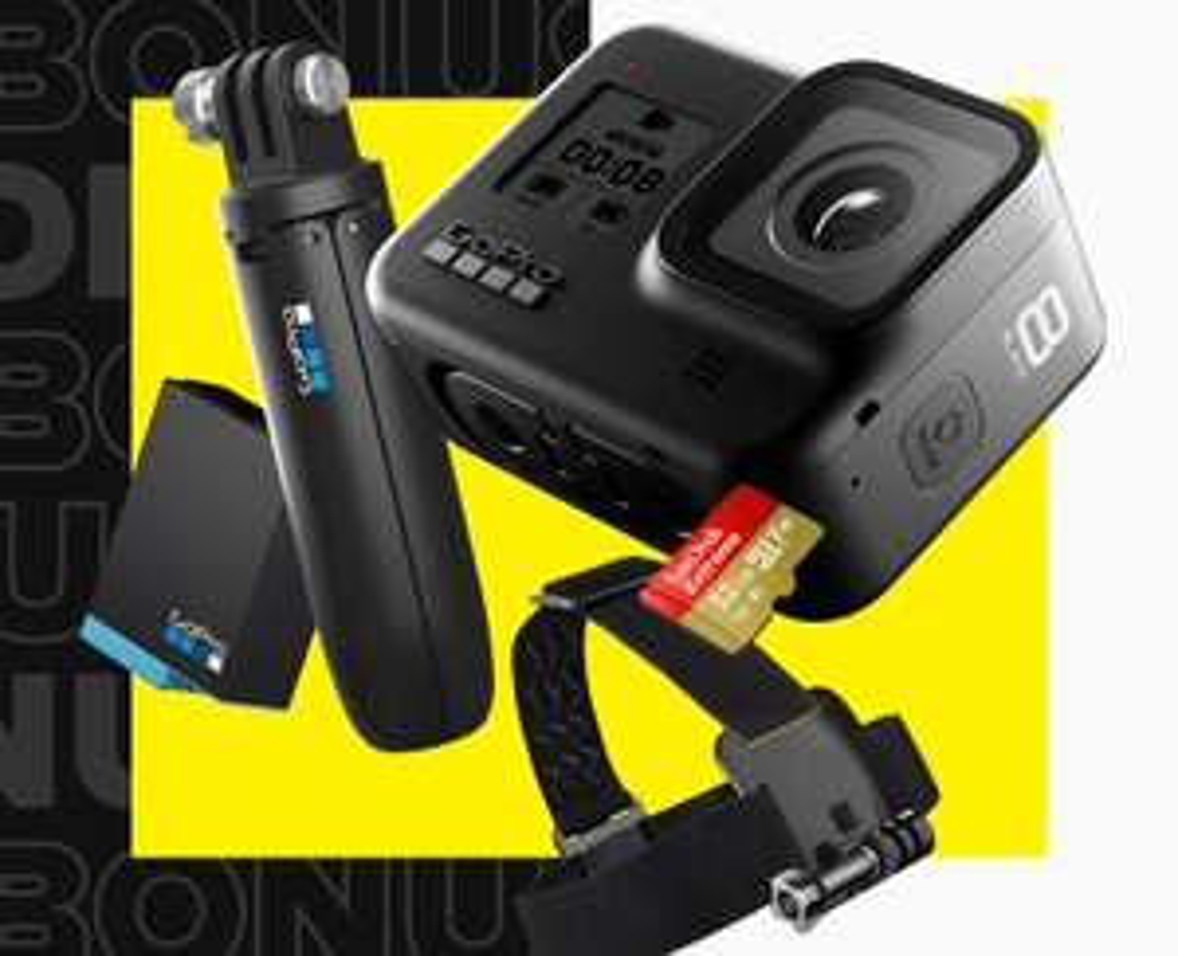 GoPro Hero8 Black Bundle (Cam + Selfie Stick + Kopfgurt + Speicherkarte + 2. Akku)