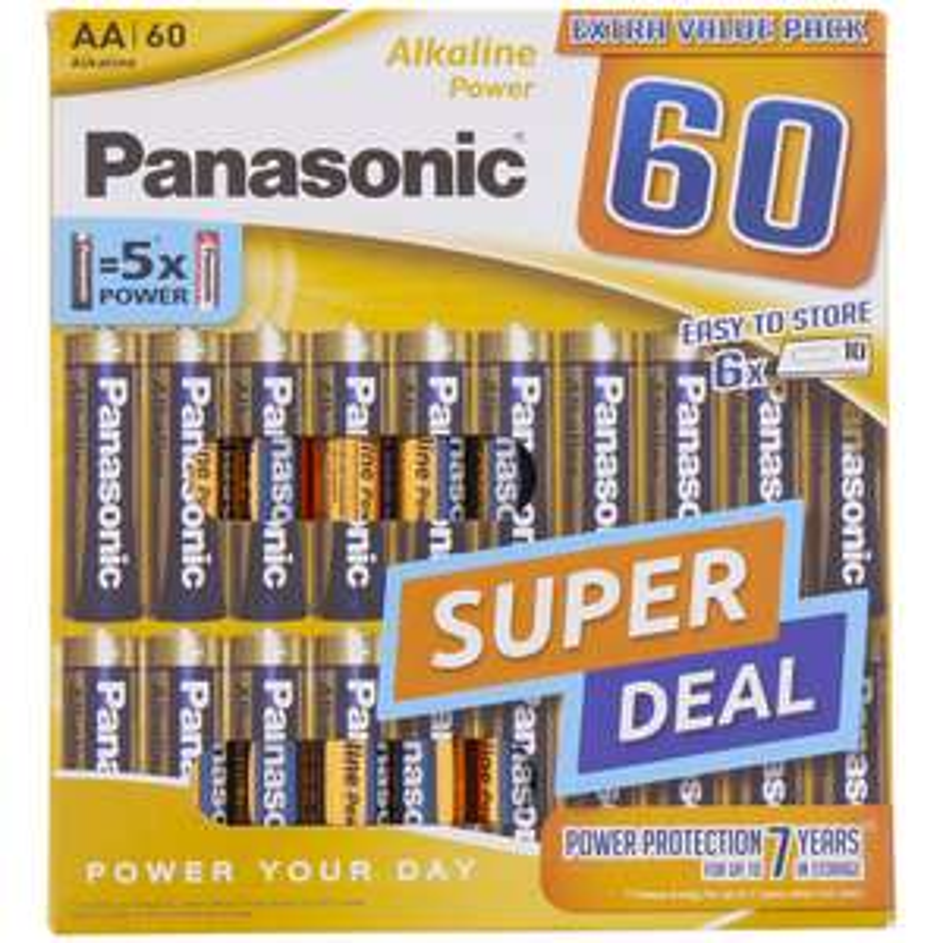 Panasonic Batterien AA Alkaline Power 60 Stück