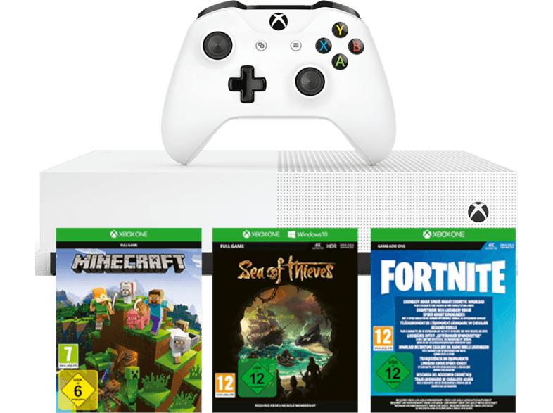 [MEDIA MARKT] MICROSOFT Xbox One S 1TB All Digital Edition weiß (Konsole ohne optisches Laufwerk) + 3 Spiele Bestpreis