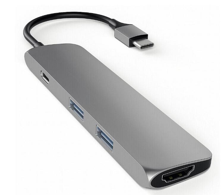 (Händlerdeal) Satechi USB3.0 Typ C Stecker auf 1x HDMI 2x USB Typ A Hub Adapter space grau