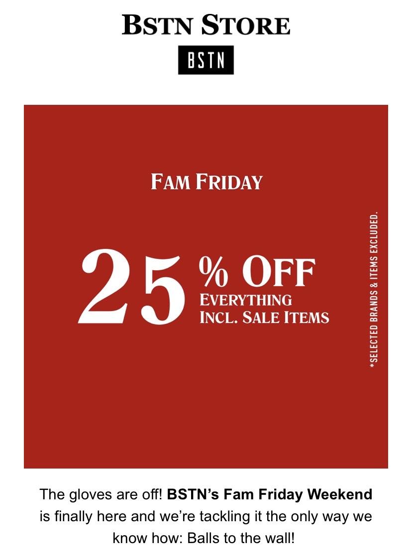 BSTN Store Black Friday Sale -25% auf Alles!