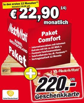 Kabel Deutschland Doppel-Flatrate mit 220€ Media Markt Gutschein