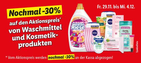 [Lidl] -30% auf den Aktionspreis von Waschmittel- und Kosmetikprodukte