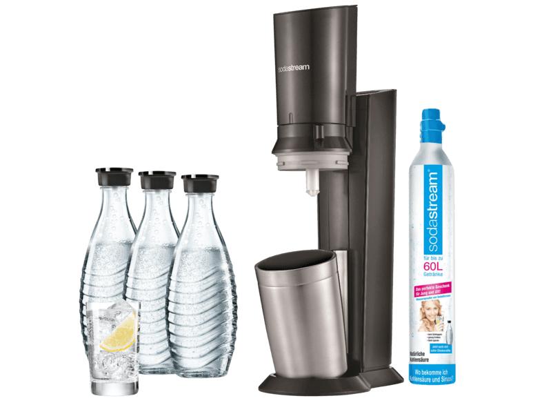 SodaStream Crystal 2.0 Titan inkl. 3 Glaskaraffen & CO2-Zylinder