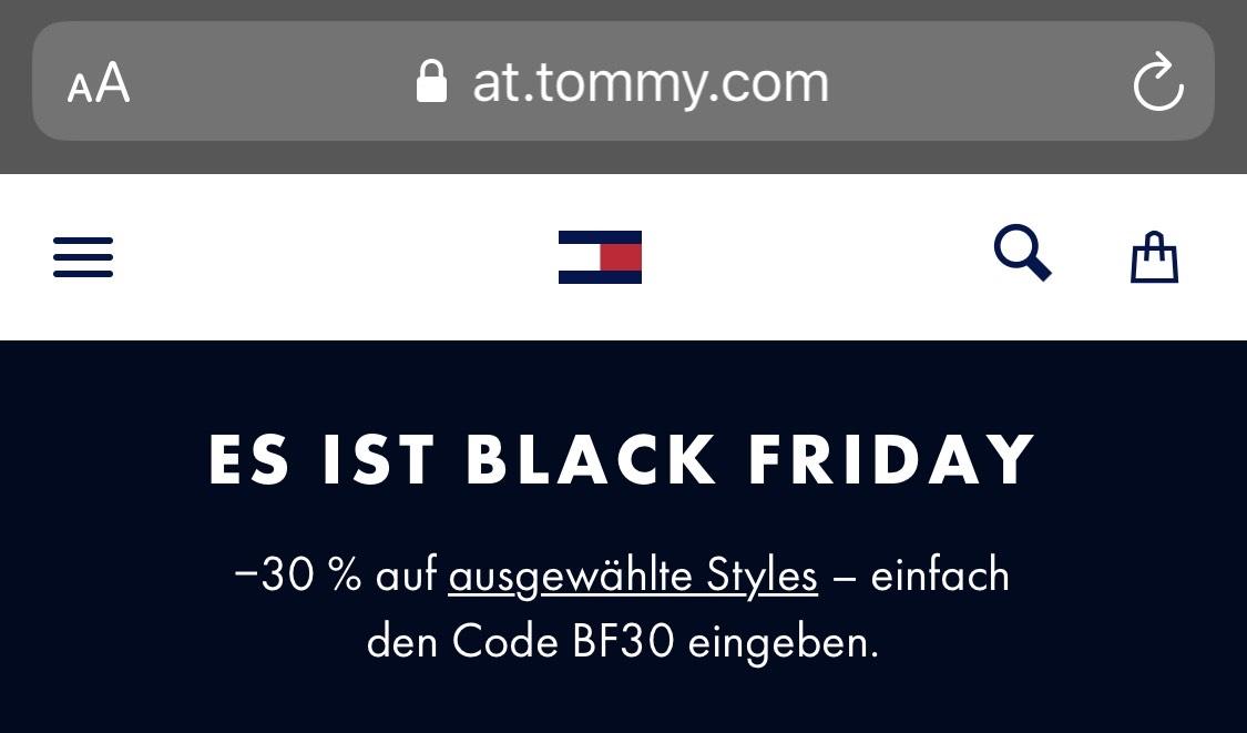 -30% auf ausgewählte Stücke von Tommy Hilfiger