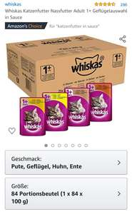 [Amazon] Whiskas Katzenfutter, diverse Sorten in Beutel. Im Sparabo mit Coupon um 50% gunstiger