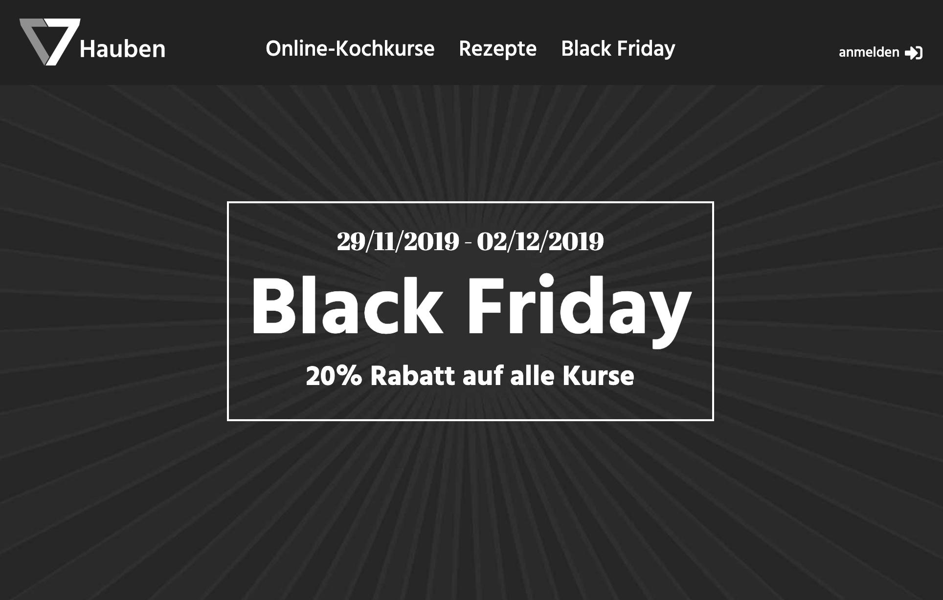 20% Black Friday Rabatt auf Koch und Backkurse