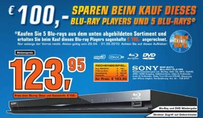 Sony BDP-S370 (mit USB und Internetanschluss) + 5 Blu-rays ab 99€ bei Saturn