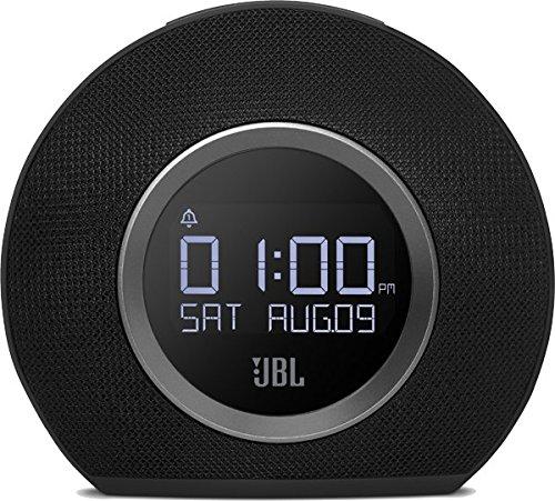 JBL Horizon Wireless Bluetooth Radiowecker mit 2 Weckern und Umgebungsbeleuchtung, FM Radio, 2 USB-Ladeanschlüssen
