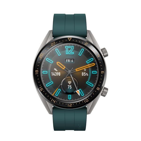 Huawei Watch GT Active grau mit Silikonarmband grün