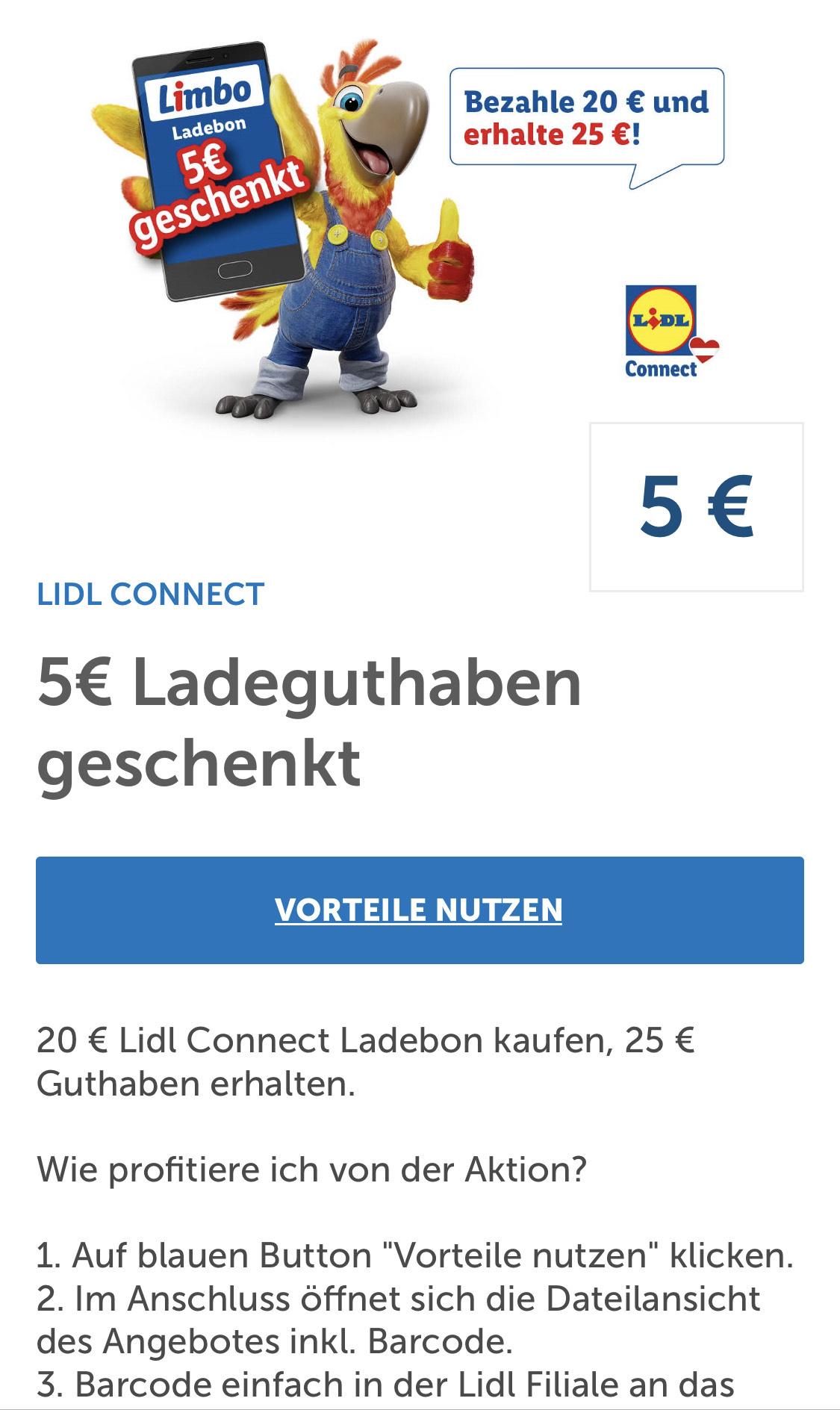 Lidl Connect 25,-€ Ladeguthaben für 20,- €