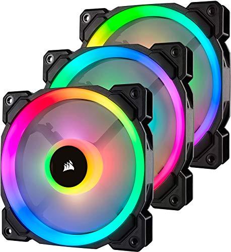 Corsair LL120 RGB LED PWM PC-Gehäuselüfter (120mm Dual Licht Loop RGB LED, Dreierpack mit Lighting Node PRO) schwarz