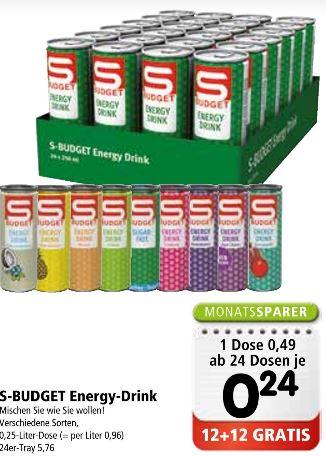 SPAR / INTERSPAR / EUROSPAR | S-Budget Energy Drink 12 + 12 gratis ab 24 Dosen Do 05.12. bis Mi 08.01.20