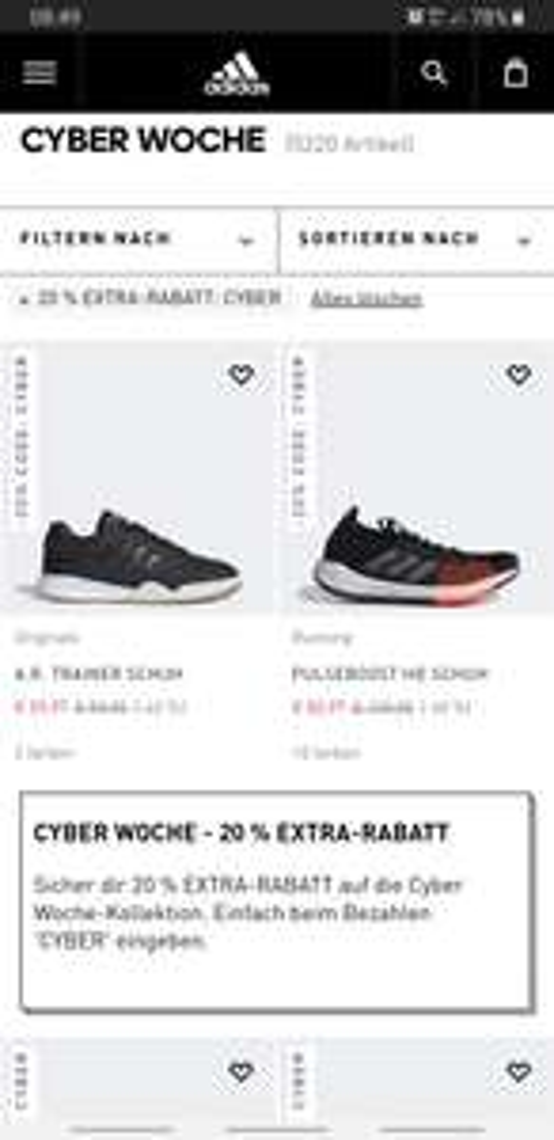 Cyber Woche Adidas -20% Extra Rabatt