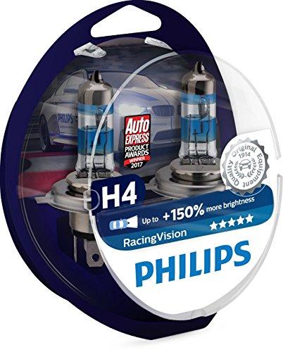 2x Philips RacingVision H4 Scheinwerfer (+150%, 55W)