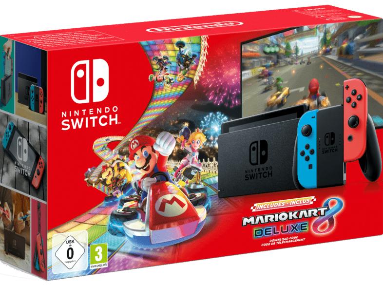 Nintendo Switch neon rot/blau (neue Edition) mit Mario Kart 8 Deluxe (digitale Vollversion)