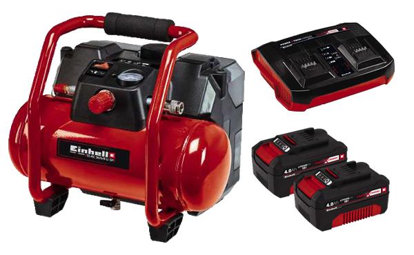 Einhell Kompressor-Set + 2x 4Ah + Twincharger