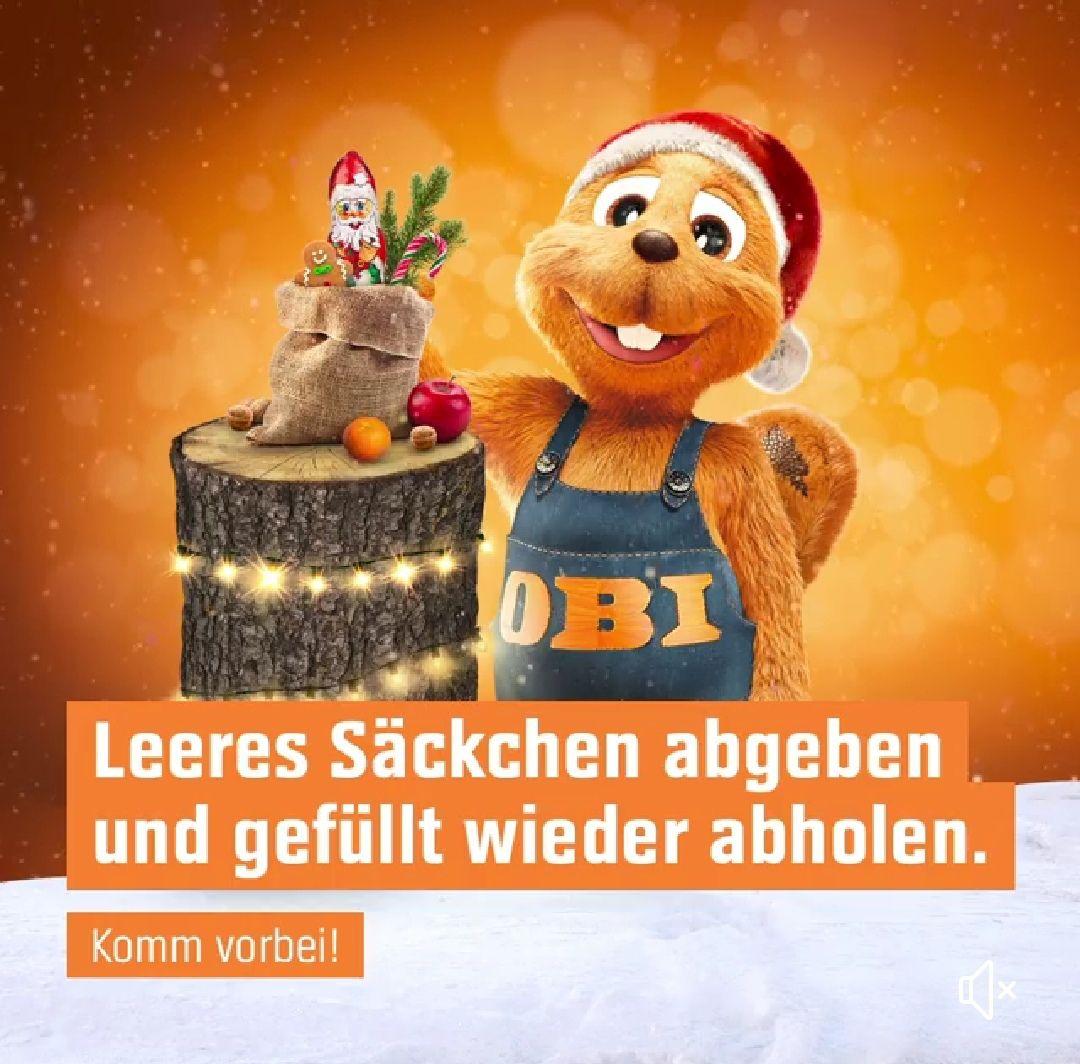 OBI: leeres Nikolaus-Säckchen bis 5.12. abgeben und am 6.12. gefüllt wieder abholen
