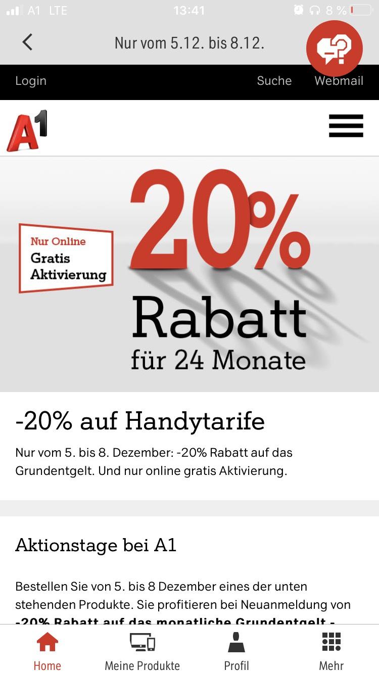 -20% auf Handytarife bei A1