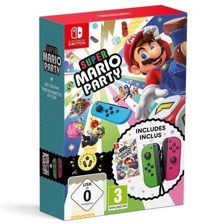 Nintendo Switch Joy-Con Controller Grün / Pink + Super Mario Party