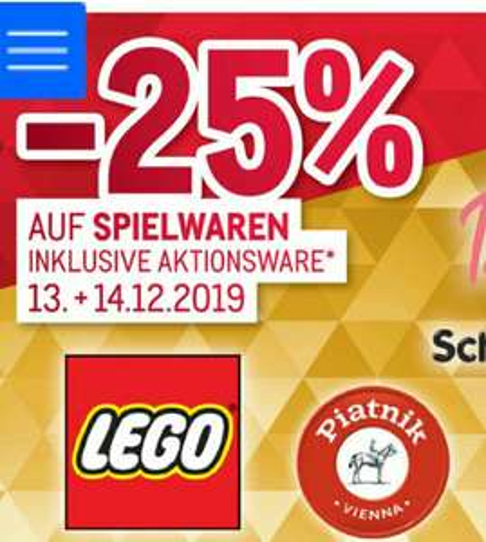 [Metro] -25% auf alle Spielwaren Lego, Playmobil usw. Inkl. Aktionsware