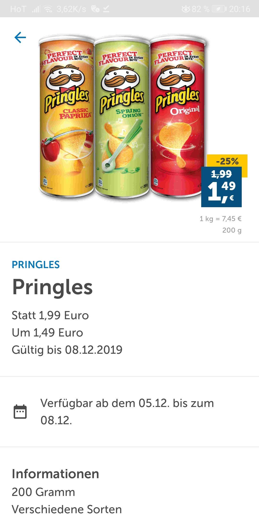 [Lidl Plus] Pringles verschiedene Sorten