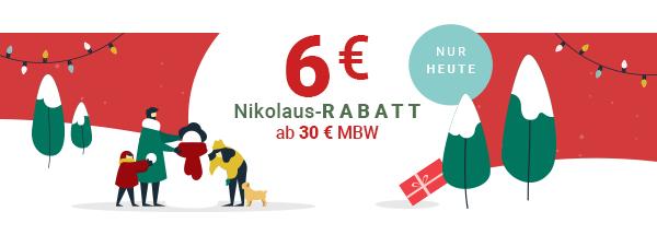 6 € Rabatt ab 30 € Bestellwert - kostenloser Versand