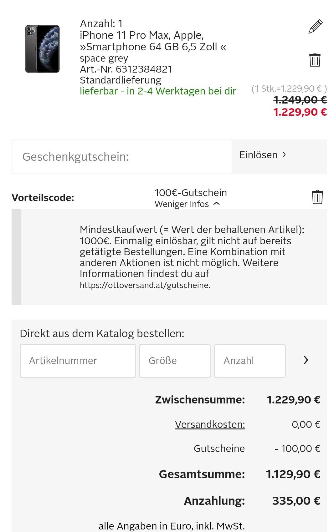 100,- Rabatt ab 1.000,- Einkauf bei Otto - gute Preise für zB iPhone 11 pro max