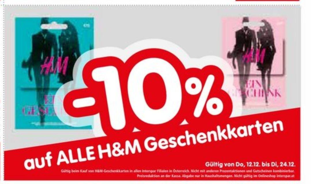 Interspar: 10% Rabatt auf H&M-Geschenkkarten