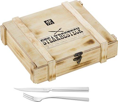 Zwilling Steak Besteckset in rustikaler Holzbox, Edelstahl, 12-teilig