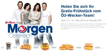 Gratis Frühstück bei McDonalds Österreich dank Ö3 - *Losungswörter*