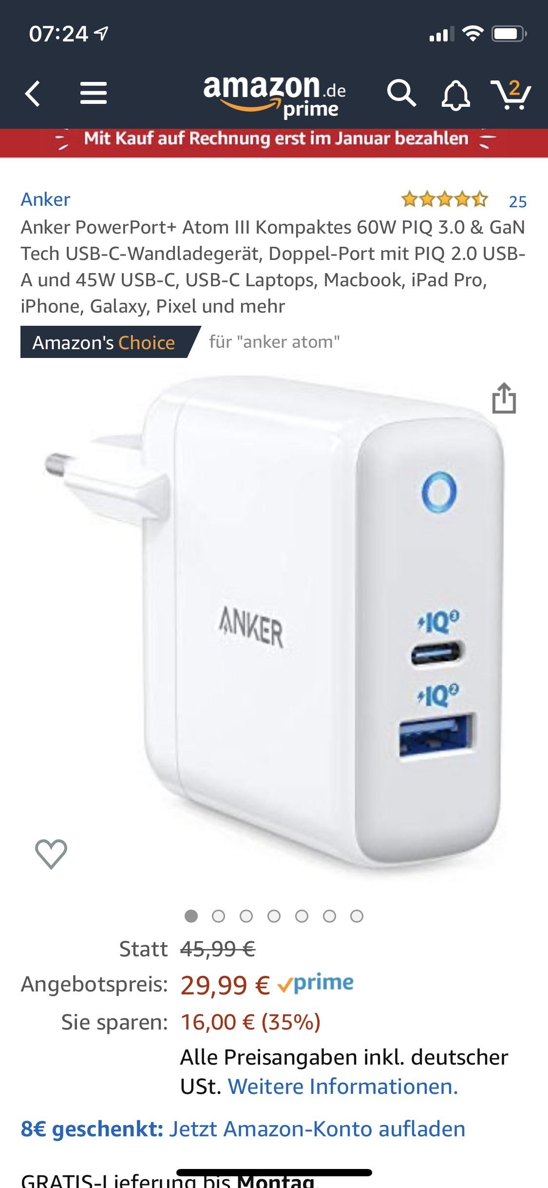 Anker PowerPort 60W USB C Netzteil